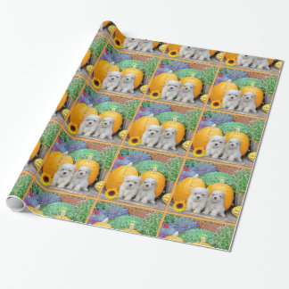 Thanksgiving Maltese puppy wrapping paper