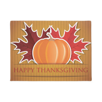 Thanksgiving maple and pumpkin doormat