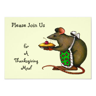"Thanksgiving Meal: Mama Mouse Holding Pie: Art 5"" X 7"" Invitation Card"
