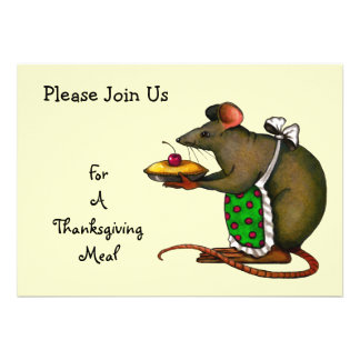 Thanksgiving Meal Mama Mouse Holding Pie Art Custom Invite