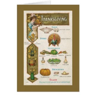 Thanksgiving Menu - Vintage Style - Quaint Greeting Card