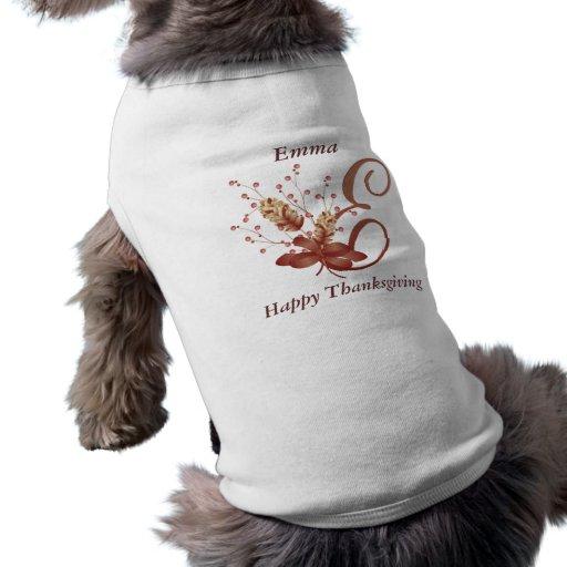 Thanksgiving monogram Letter E Dog Shirt