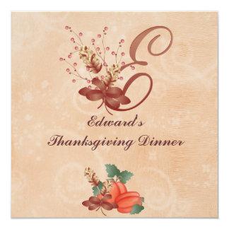 Thanksgiving Monogram Letter E Invitation Card