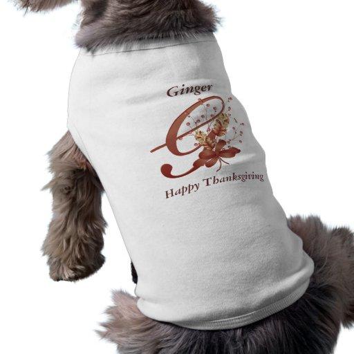 Thanksgiving monogram Letter G Dog Shirt