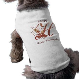 Thanksgiving monogram Letter H Dog Shirt