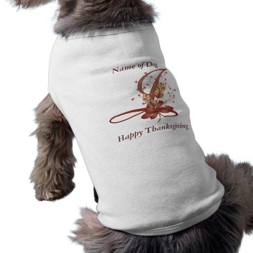 Thanksgiving monogram Letter I Dog Shirt