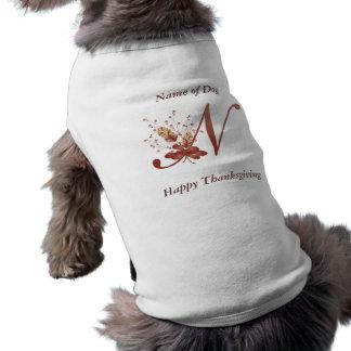 Thanksgiving monogram Letter N Dog Shirt
