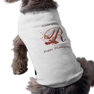 Thanksgiving monogram Letter R Dog Shirt
