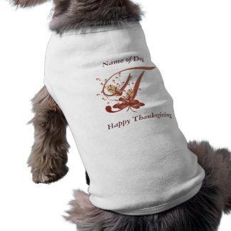 Thanksgiving monogram Letter T Dog Shirt