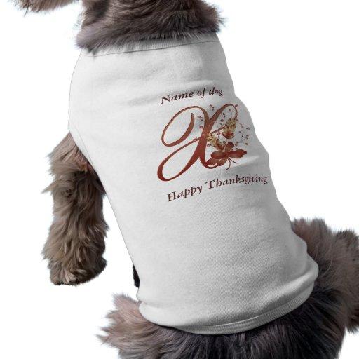 Thanksgiving monogram Letter x Dog Shirt