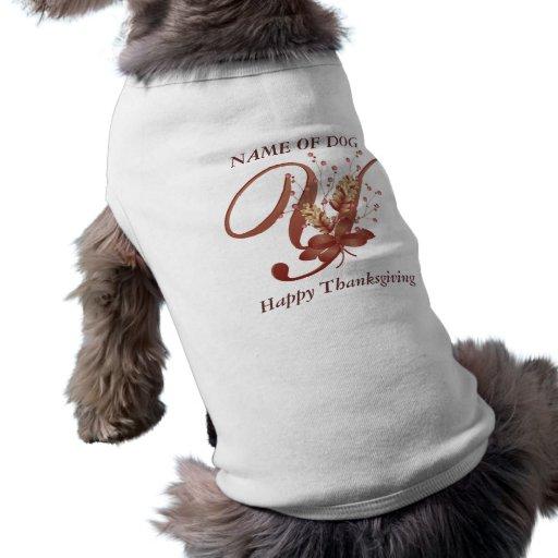 Thanksgiving monogram Letter Y Dog Shirt