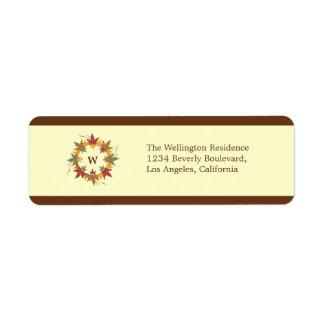 Thanksgiving Monogram Wreath Return Address Label