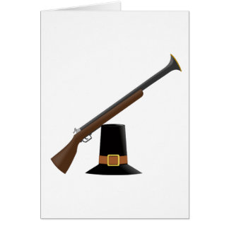Thanksgiving Musket and Pilgrim Hat Capotain Greeting Card