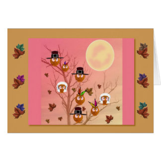 Thanksgiving Owls template card