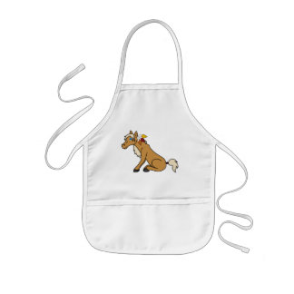 Thanksgiving Palomino Horse with Turkey Feathers Kids Apron