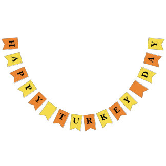 Thanksgiving Party Bunting Happy Turkey Day Bunting Flags