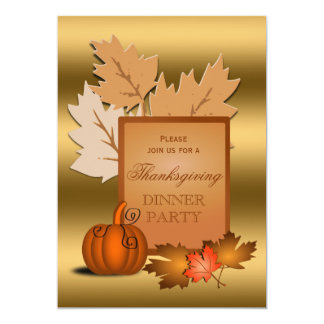 Thanksgiving Party Golden Leaves and Pumpkin Card