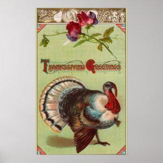 Thanksgiving patriotique de cru de la Turquie Poster