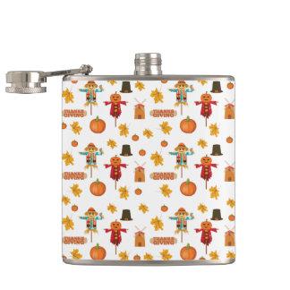 Thanksgiving pattern hip flask