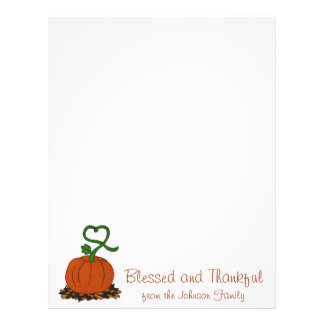 Thanksgiving Personalized Pumpkin Holiday Letter Letterhead
