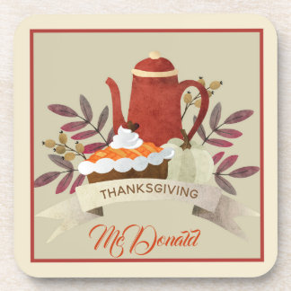 Thanksgiving Pie and Coffee Pot Design Coaster