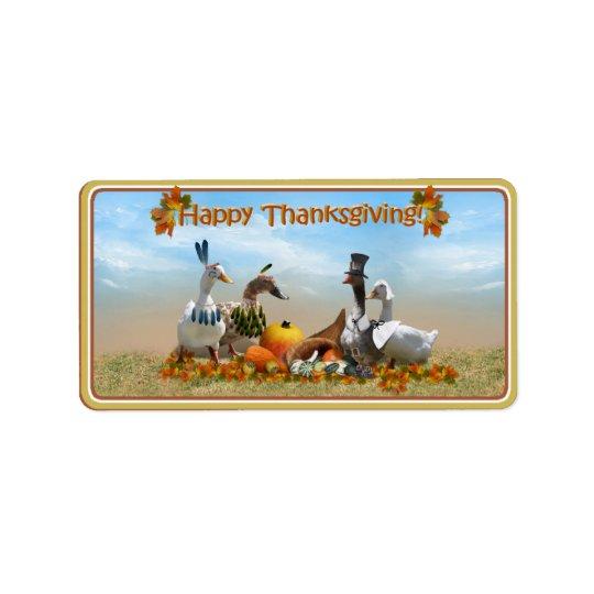 Thanksgiving Pilgrim and Indian Ducks Label
