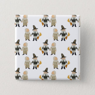 Thanksgiving Pilgrim Toddler Girl and Boy Couple 2 Inch Square Button