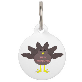 Thanksgiving Plucked Turkey Dog Tag Pet Name Tags