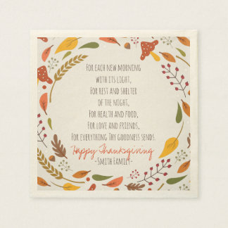 Thanksgiving Poem. Happy Thanksgiving. Custom. Disposable Napkins