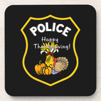 Thanksgiving Police Beverage Coaster