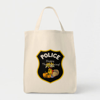 Thanksgiving Police Grocery Tote Bag