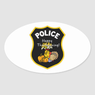 Thanksgiving Police Oval Sticker