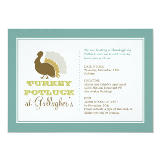 """Thanksgiving potluck chic blue green turkey dinner 5"""" x 7"""" invitation card"""