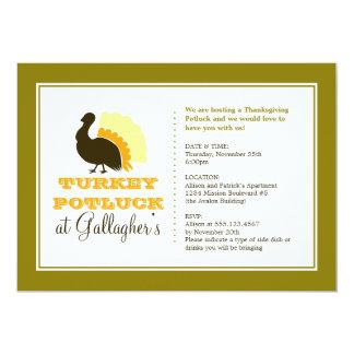 Thanksgiving potluck orange green turkey dinner card