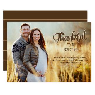 Thanksgiving Pregnancy Announcement Card Photo