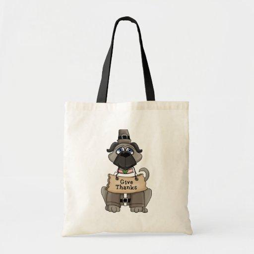 Thanksgiving Pug Dog Tote Bag