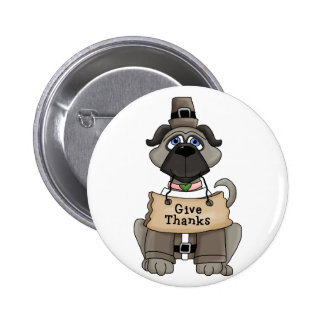 Thanksgiving Pug Dog Pinback Buttons