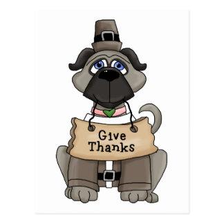 Thanksgiving Pug Dog Postcard