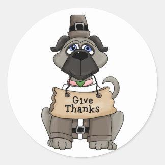 Thanksgiving Pug Dog Round Sticker