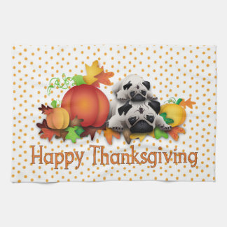 Thanksgiving Pugs and Pumpkins Gifts, Tees Kitchen Towel