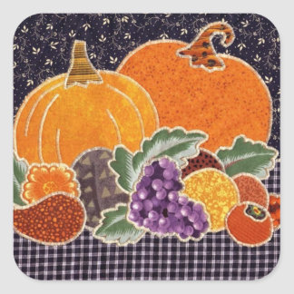 Thanksgiving Pumpkin and Friends Patchwork Square Sticker