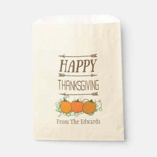Thanksgiving Pumpkin Arrow Custom Favour Bags