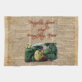 Thanksgiving Pumpkin Dictionary Art Kitchen Towel