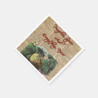 Thanksgiving Pumpkin Dictionary Art Paper Napkin