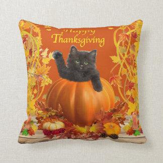 Thanksgiving Pumpkin Kitty Throw Pillow