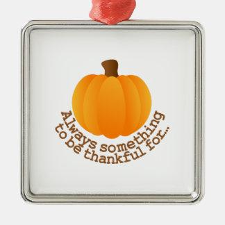 Thanksgiving Pumpkin Silver-Colored Square Ornament