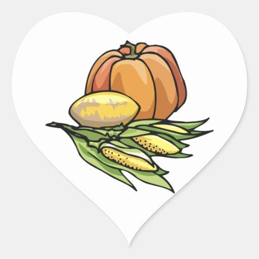 Thanksgiving Pumpkin Heart Sticker