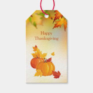 Thanksgiving, Pumpkins, maple leaves Pack Of Gift Tags