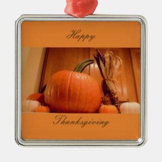 Thanksgiving Pumpkins Metal Ornament