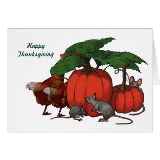 Thanksgiving: Pumpkins, Mice, Chickens: Art Card